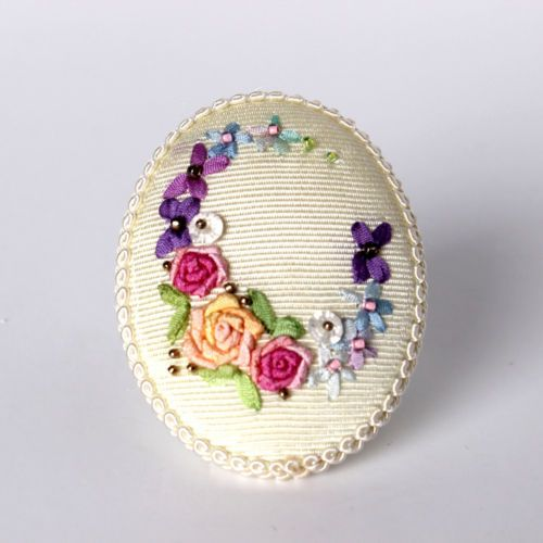 Handicraft Antique Unique Silk Ribbon Embroidery Brooch Pin Flower White