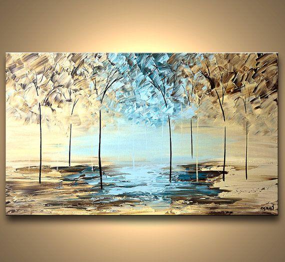 """Strukturierte moderne blühende Baum Malerei Wald abstrakte Landschaft Spachtel Originalgemälde von Osnat - to-Order - 36 """"x 24"""""""