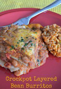 Crockpot Layered Bean Burritos Recipe - Thrifty Jinxy