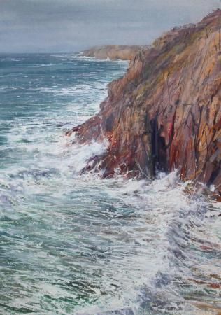 January Storm from Gwennap Head to Lands End mixed media