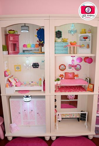Love this DIY American Girl dollhouse made with two bookcases.  This would be so much fun to do!