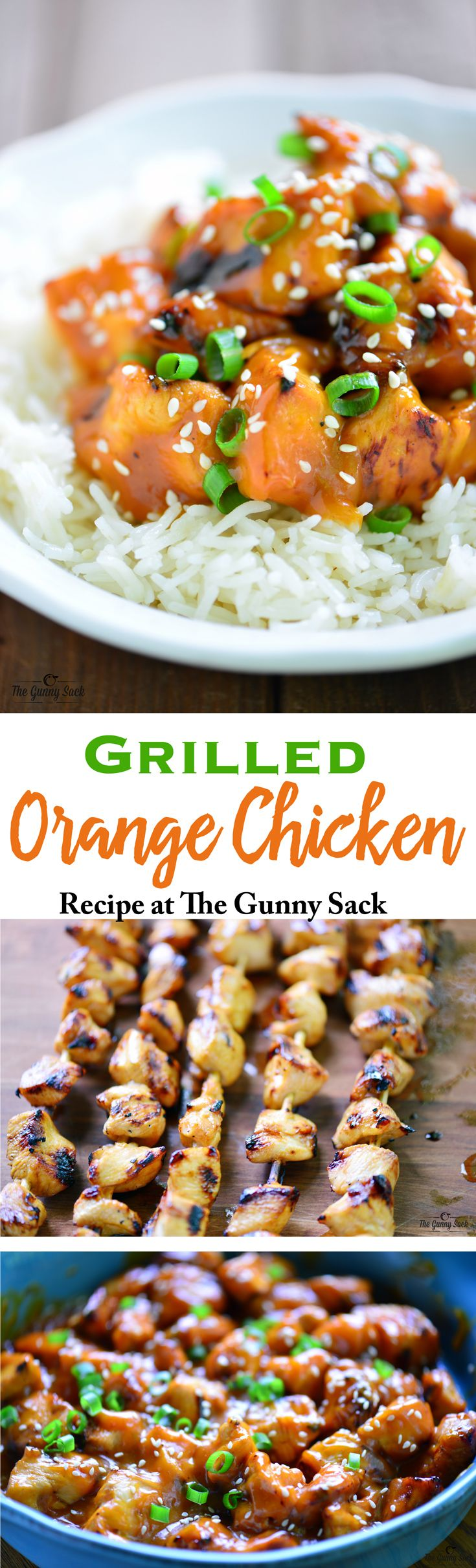This Grilled Orange Chicken recipe has a delicious orange flavor! It can be served over rice or leave the orange chicken on the skewers to serve as kabobs.