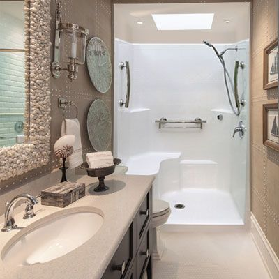One Piece Low Threshold Shower Stall With Molded Seat