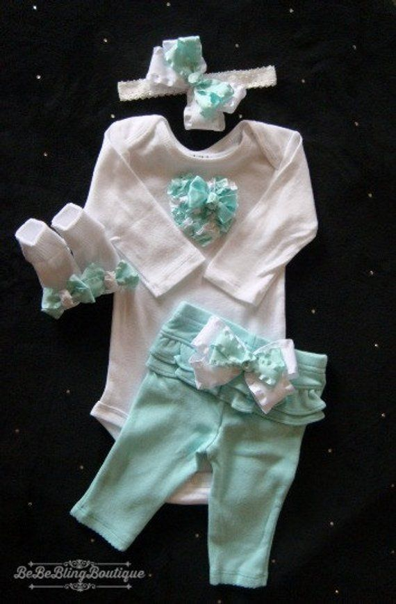 bf9b962a6fba NEWBORN Baby Girl Mint pant set