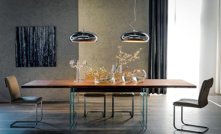 Tavolo Ikon Drive, Cattelan Italia, piano in legno e supporto in vetro Lo trovi su http://www.mobilificiomarchese.com/shop/