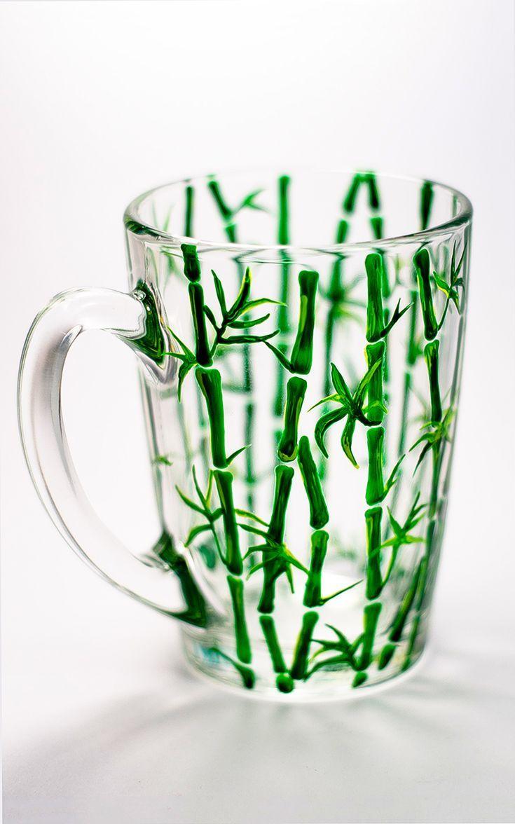 Tropical Coffee Mug Tree Bamboo Green Mug Vegan Painted Tea Cup