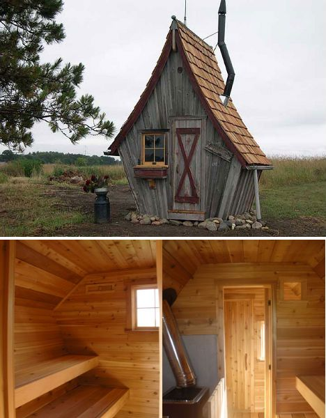 custom-built house by Rustic Way, a Minnesota-based company that can produce these these structures in a variety of sizes from teeny-tiny sauna size (as pictured above) to guest houses that are 12×12 feet. The structures are made from salvaged wood and can be shipped all over the United States.