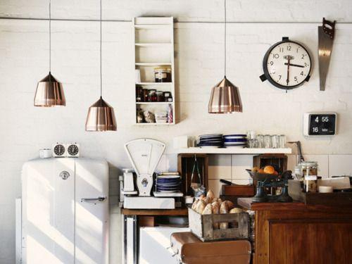 3:30: Copper Pendants Lights, Pendants Lamps, Vintage Kitchens, Lights Fixtures, Living Rooms Design, Industrial Kitchens, Clock, Home Design, Design Home