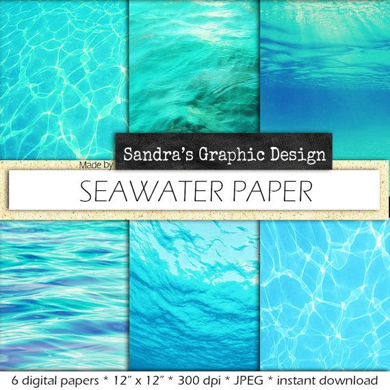 """Seawater digital paper: """"SEAWATER PAPER"""" with water backgrounds for a summer project (633)"""