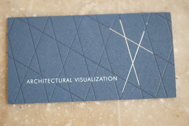 """Via Evolution Press: """"The architectural lines are letter-pressed to provide a both impression and elevation within the soft cotton stock. Production included offsetting pms 2965 on179# Cranes Crest, the architectural lines were letter-pressed in pms 2965 and followed up with a foil pass in matte silver. The flip side of the card was letterpress in pms 2965 and pms 877 with a final treatment of silver gilding."""""""
