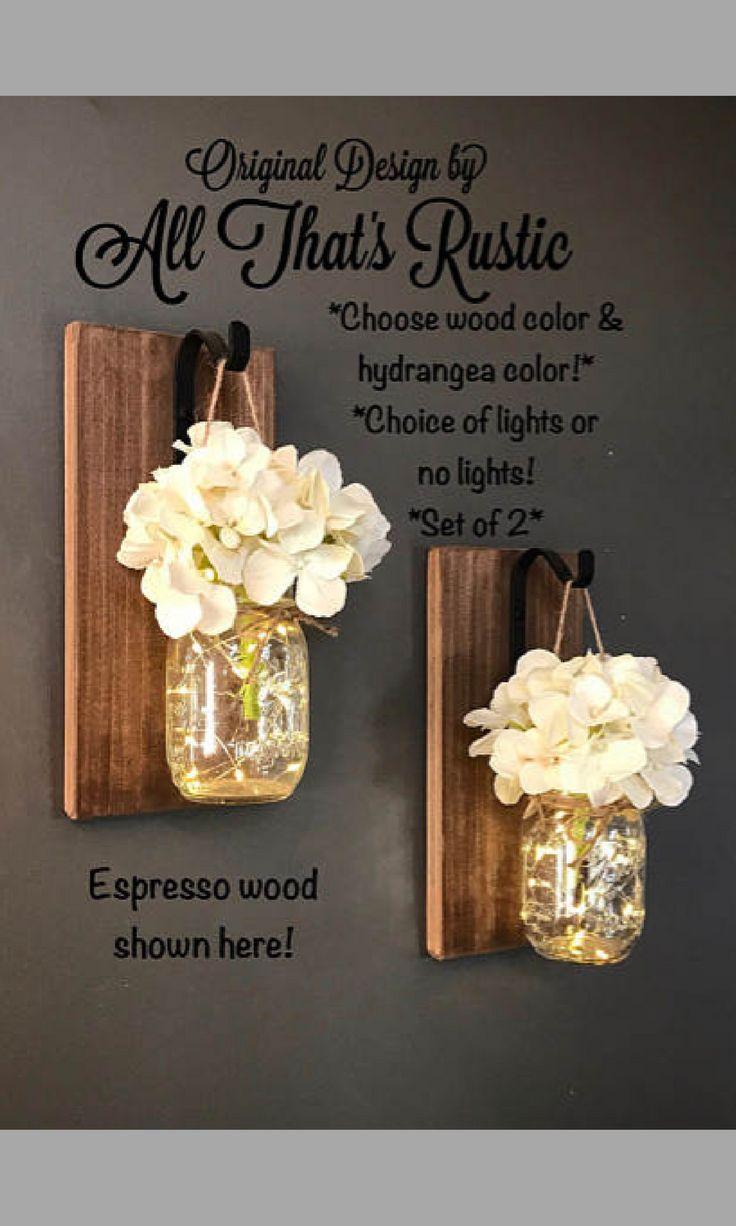 Home & Living, Set of 2 Hanging Sconces with Hydrangeas, Mason Jar Decor,  Lighted Mason Jars, Jar Sconces