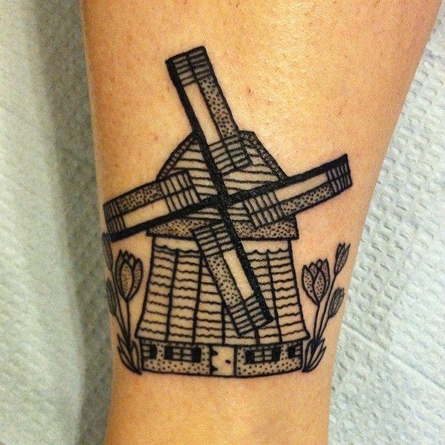 dutch windmill for rachel thanks tattoo tattoos blackworkers dotworkers tattoos. Black Bedroom Furniture Sets. Home Design Ideas