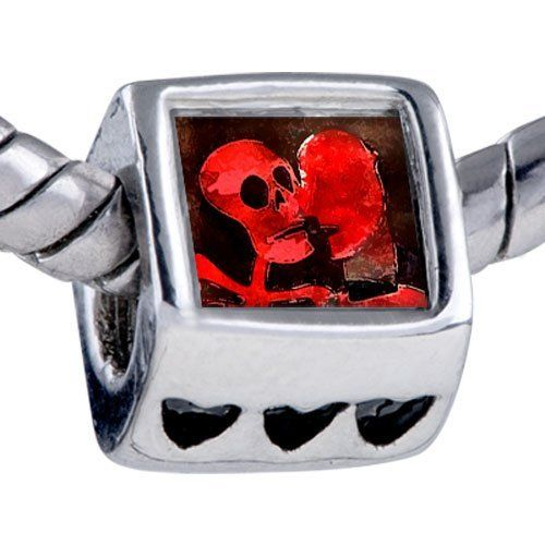 Pugster Halloween Death Skeleton Beads - Biagi Bead & Bracelet Compatible Pugster. $12.49. Hole size is approximately 4.8 to 5mm. Fit Pandora, Biagi, and Chamilia Charm Bead Bracelets. Bracelet sold separately. Unthreaded European story bracelet design. It's the photo on the heart charm