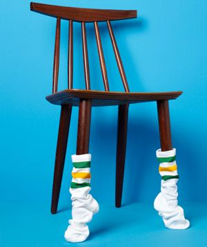 put the athletic sock on chairs for the next superbowl party.