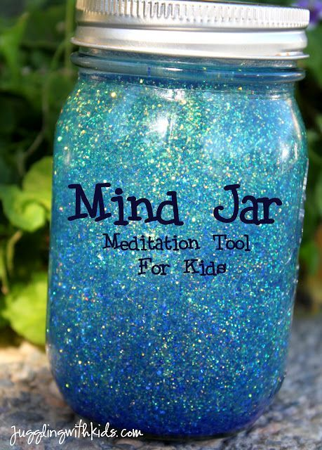 """The Mind Jar is a meditation tool to use when you are stressed. When you shake the jar the glitter (your thoughts) are all over the place. Watch them slowly settle while you calm down. From blog, """"Here We Are Together""""."""