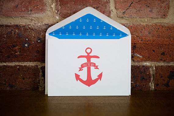You're my Anchor {Letterpress Greeting Card} by LittlePeachCo, $5.00
