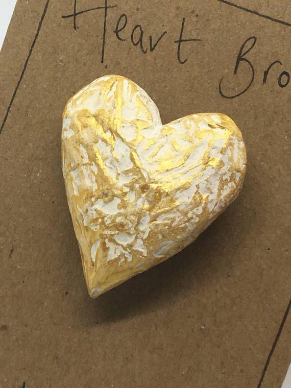 Heart brooch  heart pin  gold jewellery  papier mache