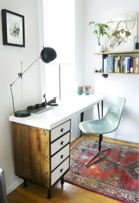 Traditionally-styled nightstand, mixed with modern chair and extras. Love mixing old with new!
