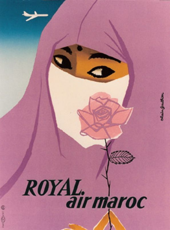 Royal Air Morocco vintagectravel poster by Gauthier Alain / 1958  #hijab pink rose