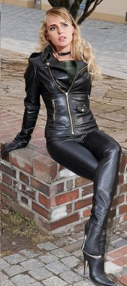 Black Leather Jacket Pants Ankle Boots Sexy Leather