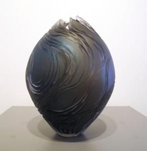 Egg Vessel - Blue, Gold & Grey by Lois Scott, 11 x 8, Cold Worked Blown Glass