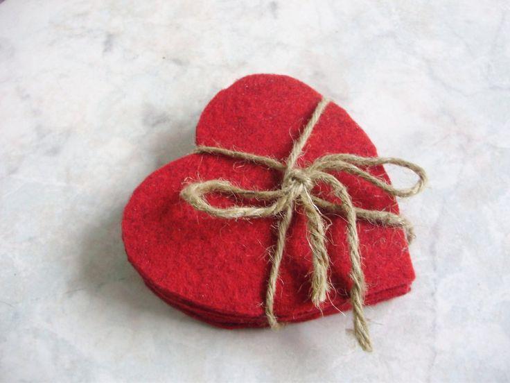 San Valentino Cuori/Set di 6 sottobicchieri in feltro fatti a mano, NO SPESE di spedizione, by ARTISTICAMENTE MARI, 9,50 € su misshobby.com