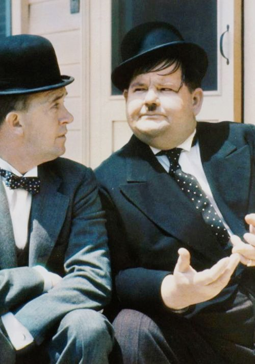 """hollywoodlady: """" Rare color photo of Stan Laurel and Oliver Hardy. """""""