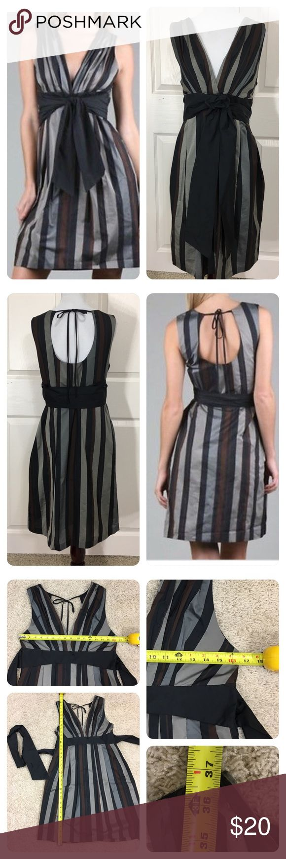 """Anthropologie Eva Franco Eva Franco Olivia Dress Eva Franco Womens Olivia Dress in Gypsy Stripe From Anthropologic   Wrap Around Belt . Gray, black and brown stripe. Tiny mark on """"v"""" bustline and small tear on wrap around belt ( can't see if tied right.) price reduced. Anthropologie Dresses"""