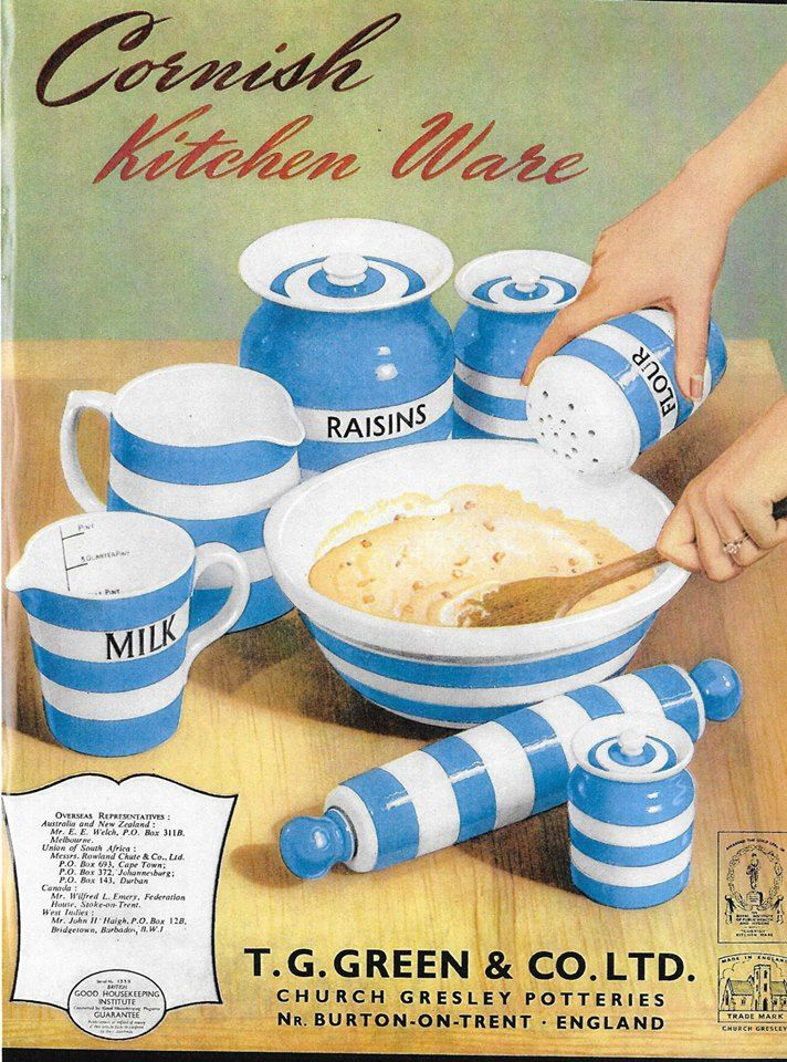 The first Cornish Ware trade advertisement reintroduced after production was halted during WWII and dated October 1949