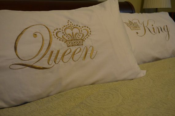 King & Queen Pillow CASE set ANY SIZE by SassyPantsEmbroidery, $48.00