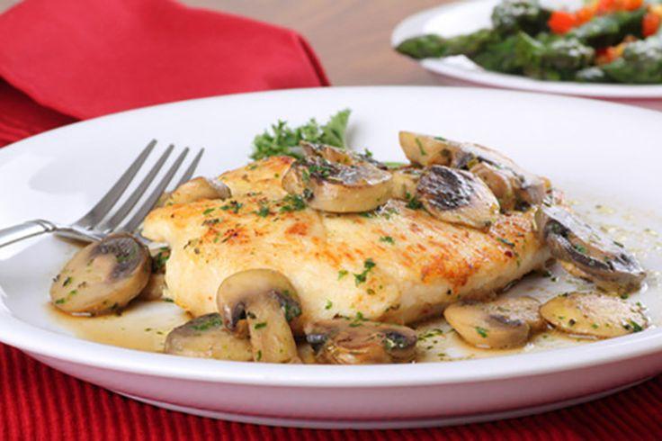 Slow Cooker Chicken and Mushroom Gravy - chicken, crimini mushrooms, onion, parsley, broth, cornstarch