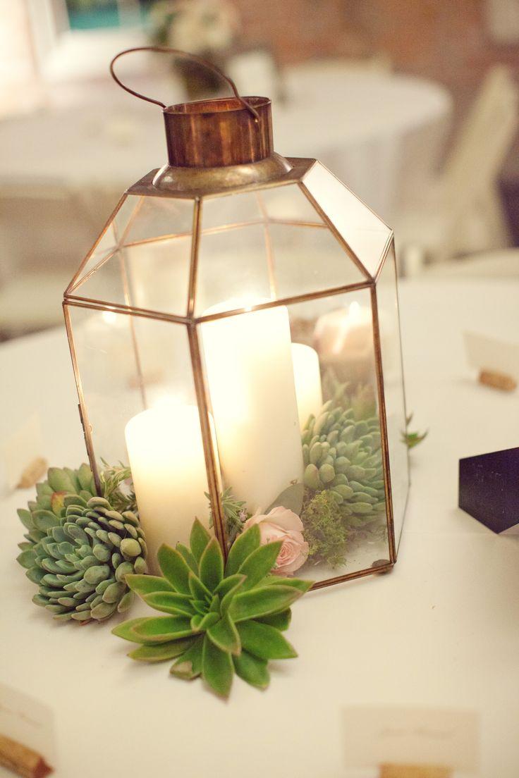 Succulent candle lantern centerpieces pinterest