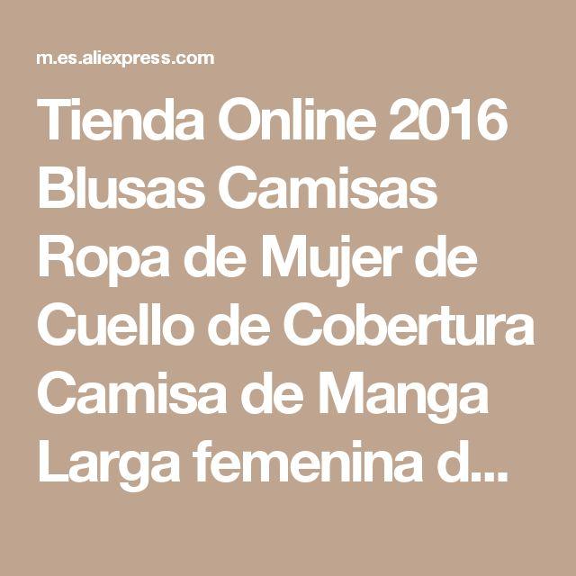 Tienda Online 2016 Blusas Camisas Ropa de Mujer de Cuello de Cobertura Camisa de Manga Larga femenina de la Señora Profesional Formal de La Blusa Tops otoño 2015 4L | Aliexpress móvil
