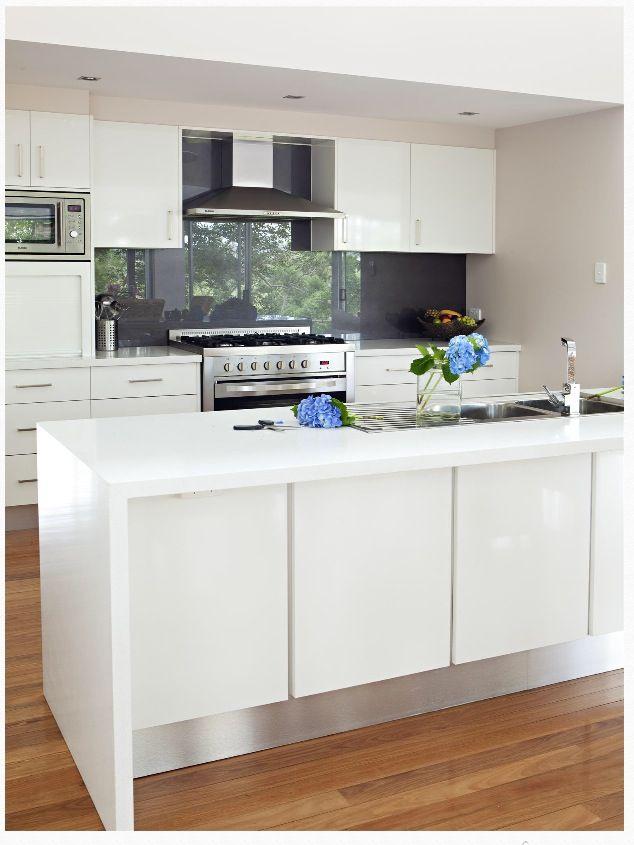 Crisp White Kitchen With A Charcoal Splash Back Gorgeous