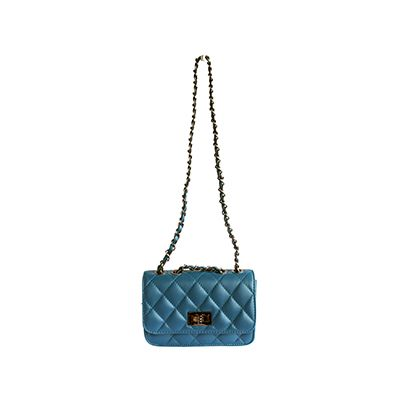 Designer Style Quilted Italian Teal Leather Handbag (Small Size) - £44.99