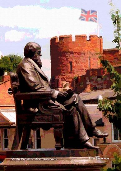 Charles Darwin & Shrewsbury Castle, Shrewsbury, the county town of Shropshire, in the West Midlands region of England, UK | Peter Sandilands