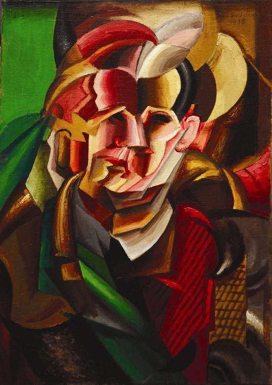 Antonín Procházka - Bust of a man (1918) #painting #art #CzechArt #Czechia #cuboexpressionism