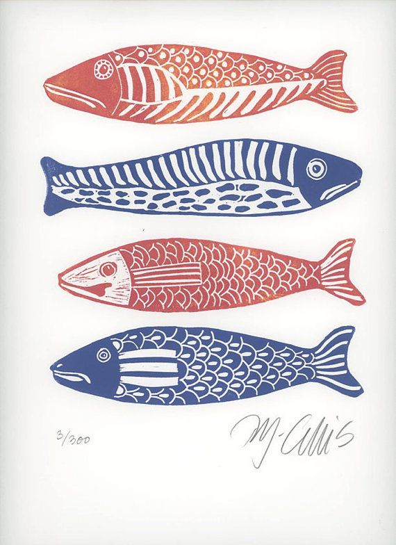 linocut print, Four Fish, fish, blue and white, red, gift for him, fishing, beach house, stripes, printmaking, home interior, blue, white