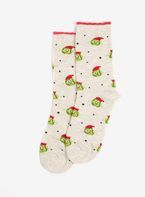 Womens Multi Coloured Christmas Sprout Ankle Socks- Multi Colour