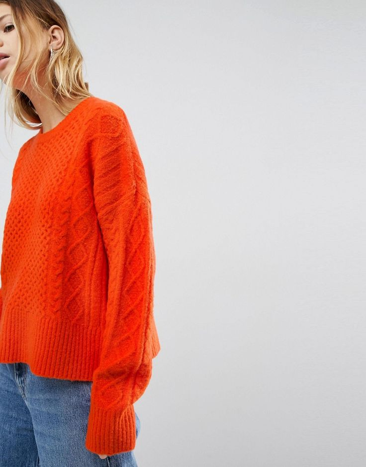 ASOS Sweater in Fluffy Cable in Wide Sleeve - Orange