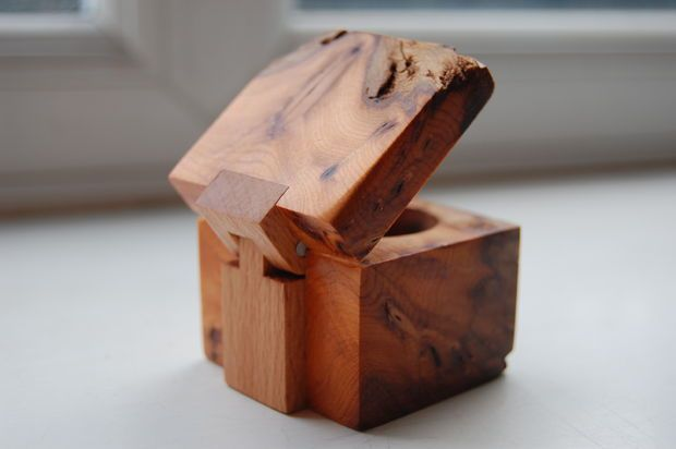Wooden Ring Box (with wooden hinge)