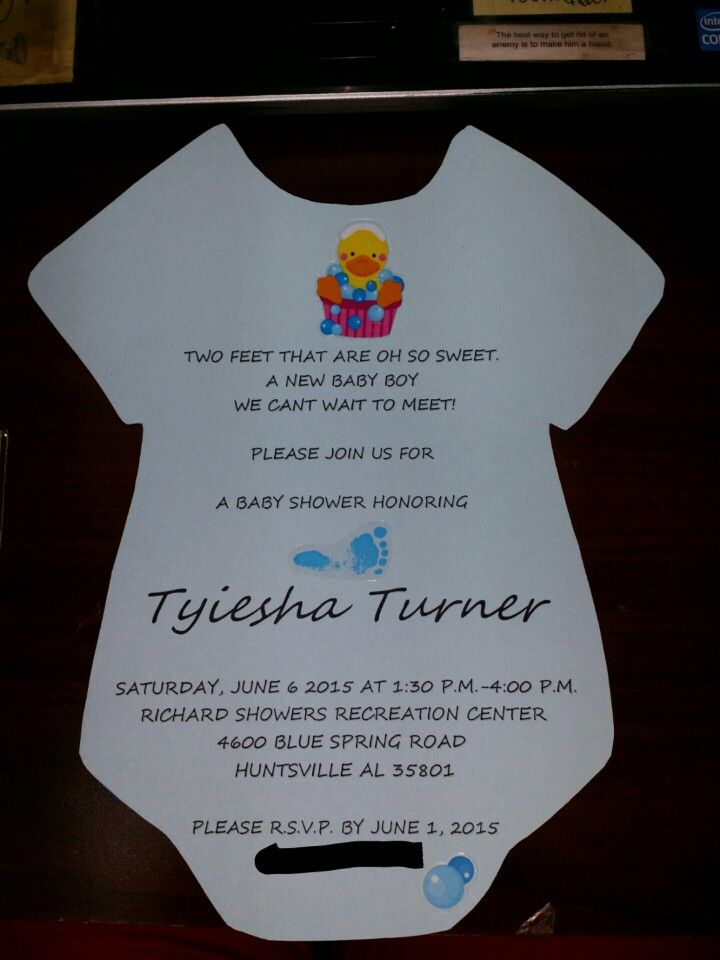 Onesies invite. This was really easy. I found a onsie ...
