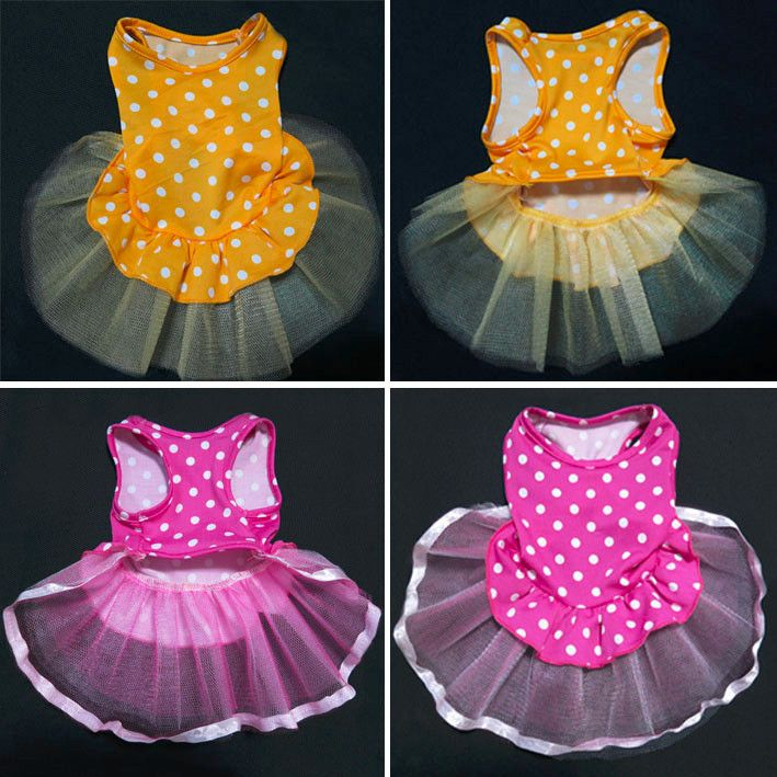 Pink Yellow PET DOG Dress Tulle Skirt Bridal PET Apparel DOG Clothes XS S M L | eBay