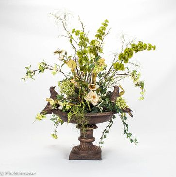 mediterranean style floral arrangements | Bird bath silk floral arrangement - traditional - plants - chicago ...