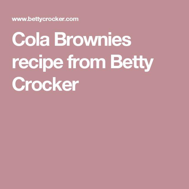 Cola Brownies recipe from Betty Crocker