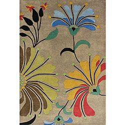 Hand-tufted Metro Flower Beige Wool Rug (8' x 10') oveerstock