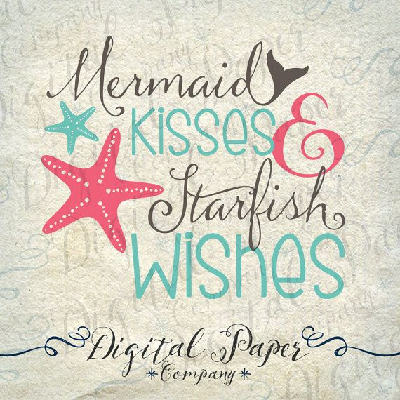 Mermaid Kisses & Starfish Wishes SVG DXF por DigitalPaperCompany