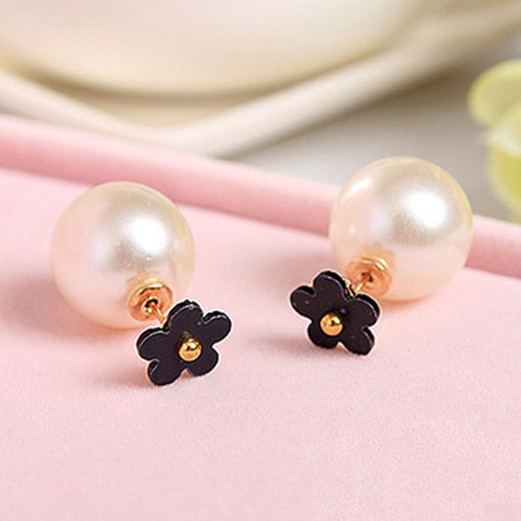 White Black Small Daisy Flower Simulated Pearl Double Side Stud Earrings for Women Jewelry