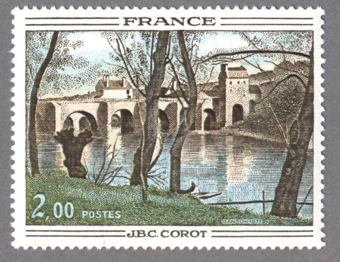 timbres de france/timbre france 1977 - 1923 - Le Pont de Mantes, tableau de Camille Corot - Serie Oeuvres d Art.JPG