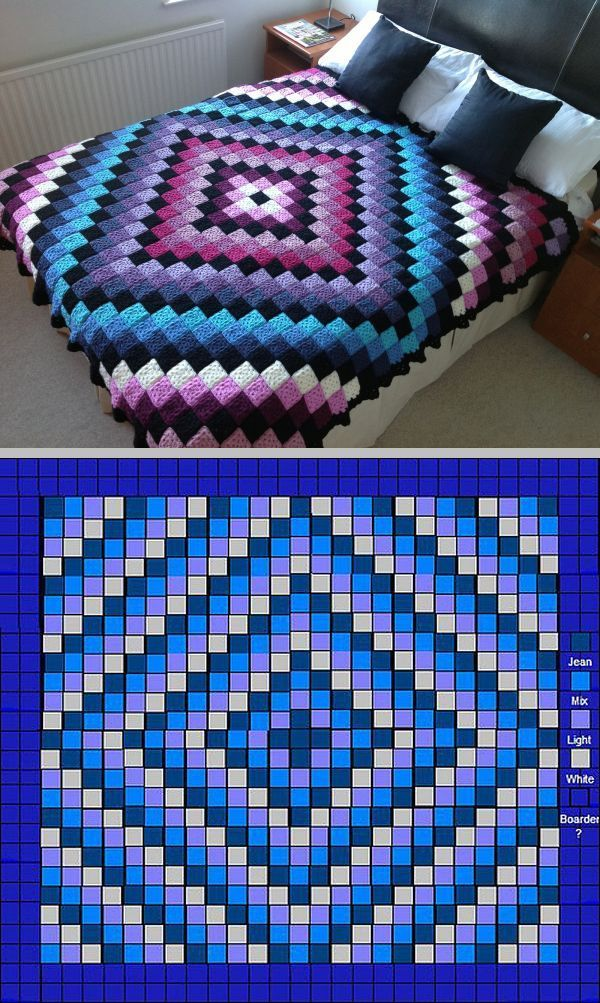 "The famous 'Around The World' quilt-style bedcover, free pattern by Karen Buhr. Fits a queen-size bed (73"" x 94""). Pattern requires 576 two-round granny squares (center) & 208 five-round squares for the solid border, which are then sewn together. Squares could be made larger & JAYG"